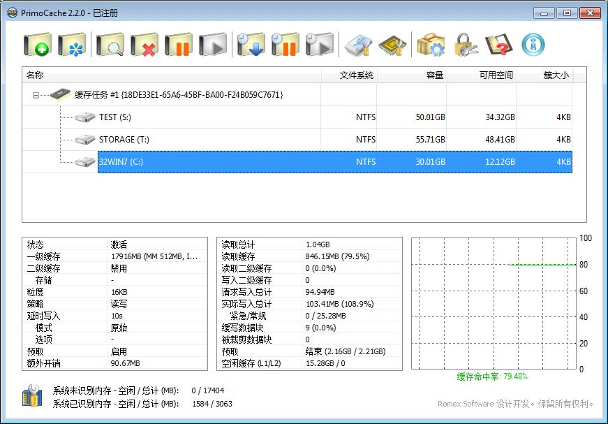 PrimoCache Main UI