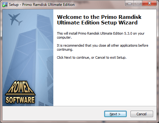 Primo Ramdisk Installation Wizard Page 1