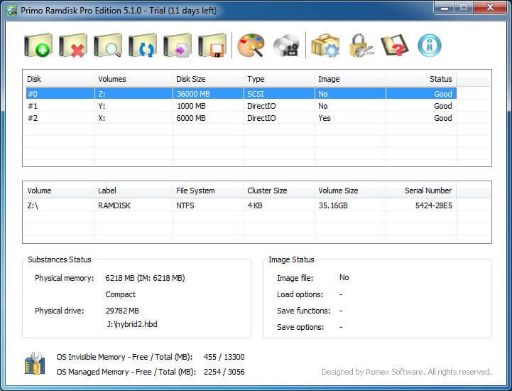 Primo Ramdisk Professional Edition full screenshot